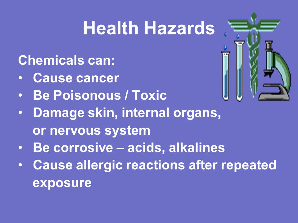 Health Hazards Chemicals can: Cause cancer Be Poisonous / Toxic
