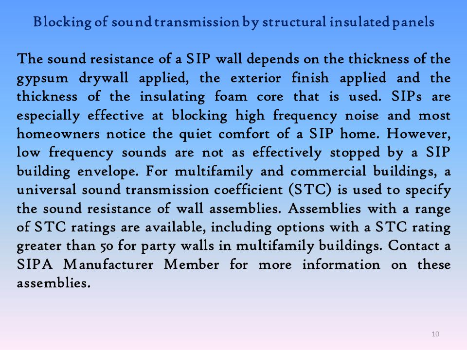 Blocking of sound transmission by structural insulated panels