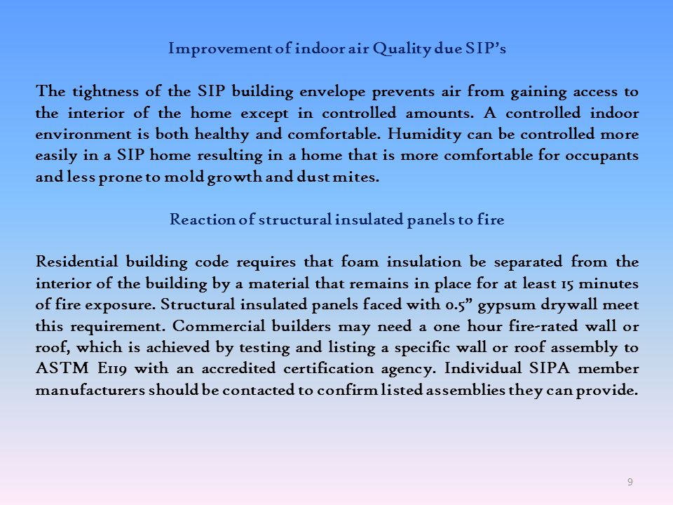 Improvement of indoor air Quality due SIP's