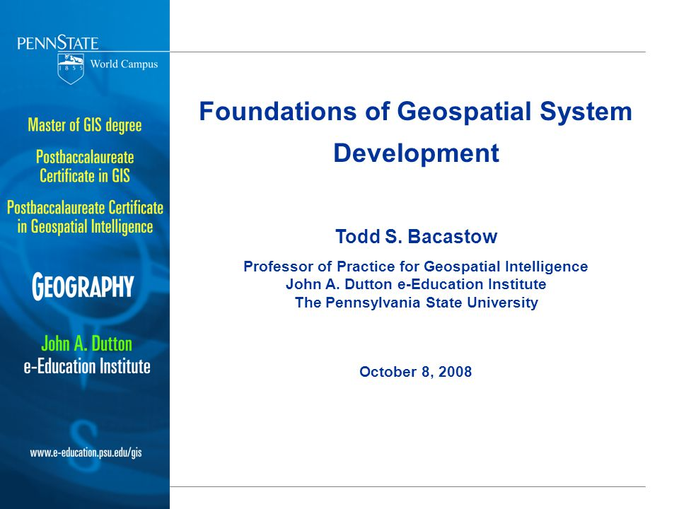 Foundations of Geospatial System Development