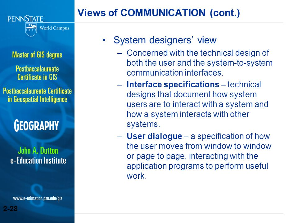 Views of COMMUNICATION (cont.)