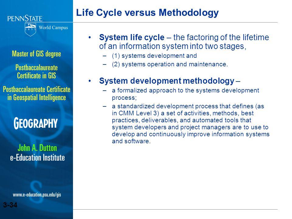 Life Cycle versus Methodology
