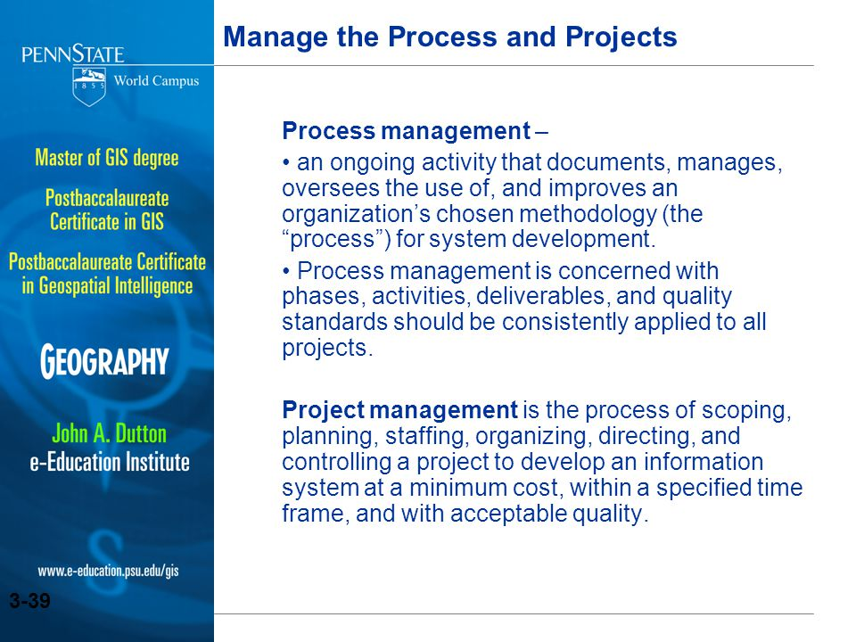 Manage the Process and Projects