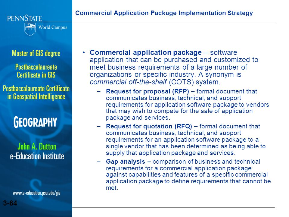 Commercial Application Package Implementation Strategy