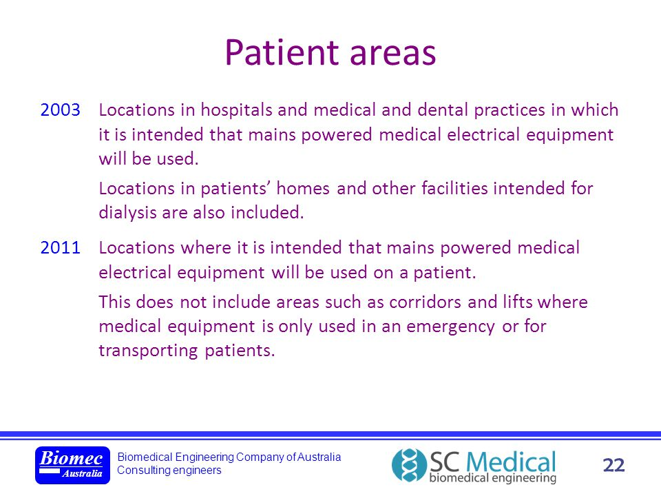 Patient areas