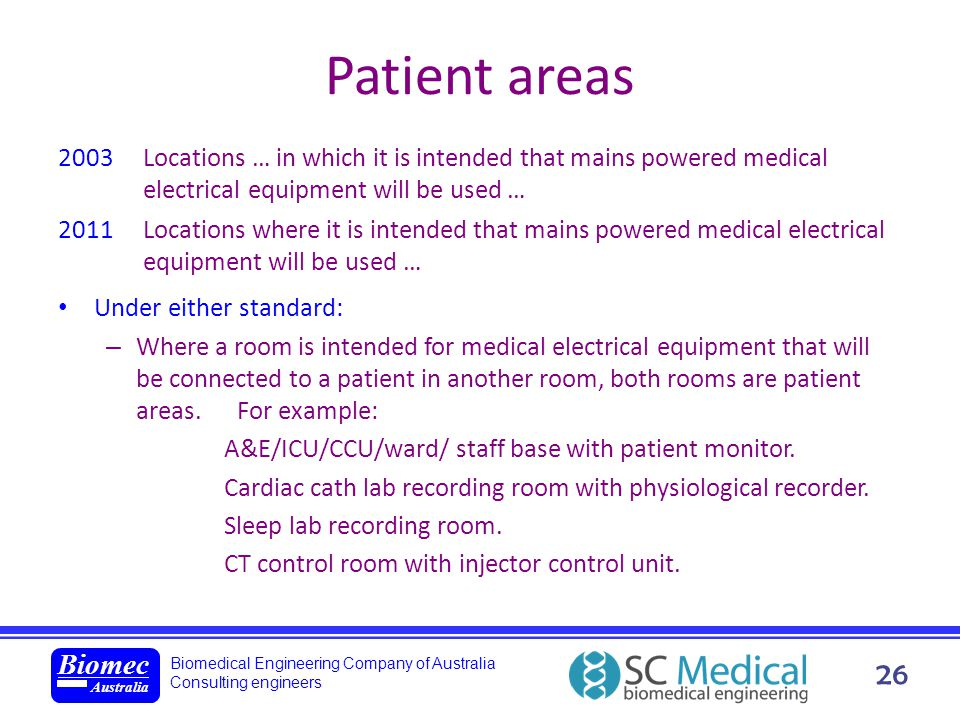 Patient areas 2003 Locations … in which it is intended that mains powered medical electrical equipment will be used …