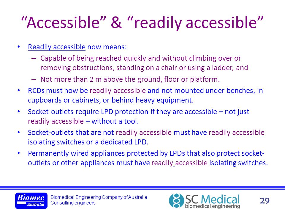 Accessible & readily accessible
