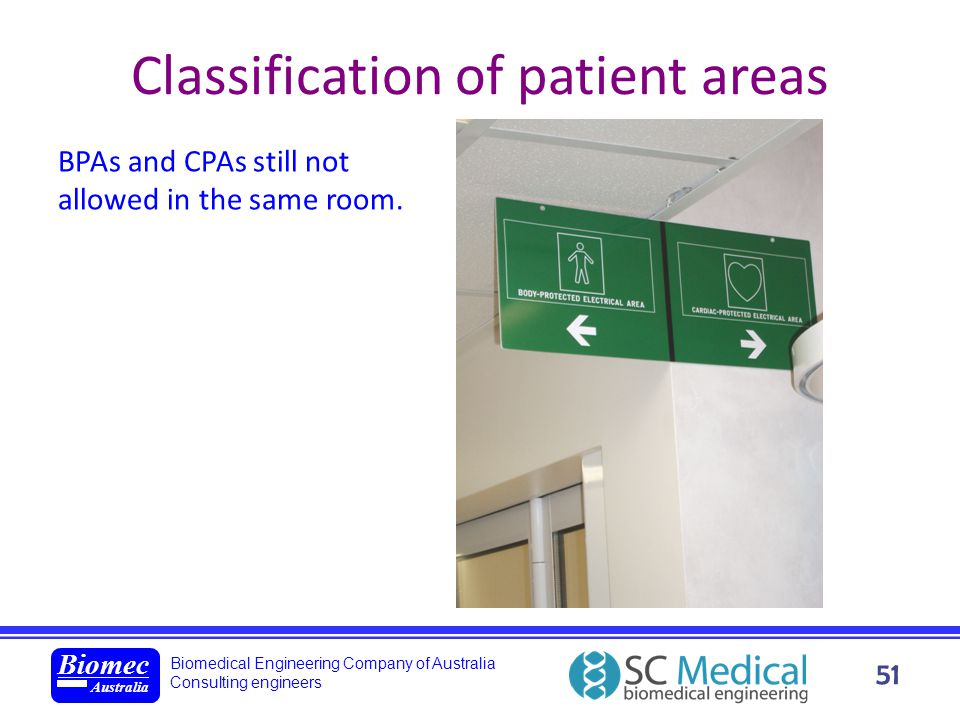 Classification of patient areas