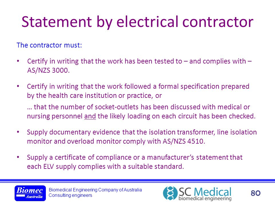 Statement by electrical contractor