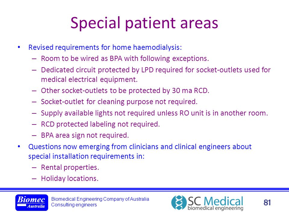 Special patient areas Revised requirements for home haemodialysis: