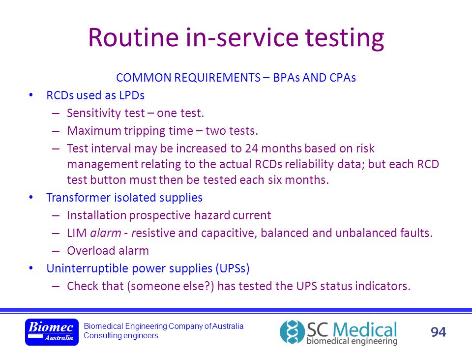 Routine in-service testing