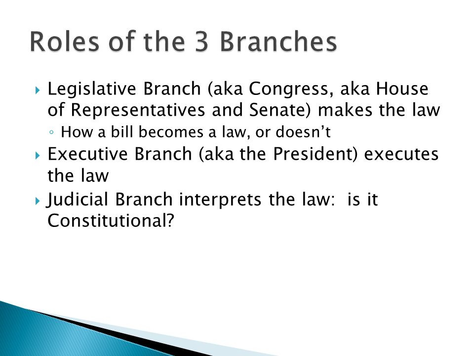 Roles of the 3 Branches Legislative Branch (aka Congress, aka House of Representatives and Senate) makes the law.