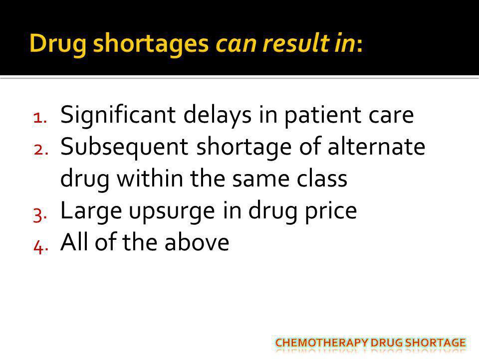 Drug shortages can result in: