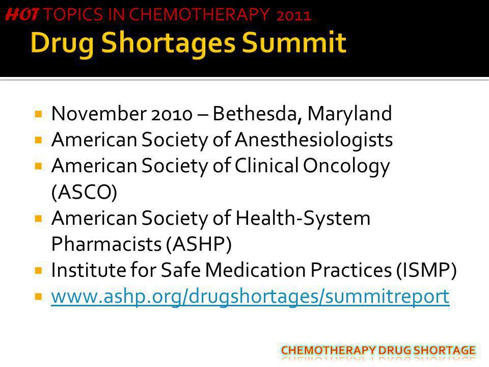 Drug Shortages Summit November 2010 – Bethesda, Maryland