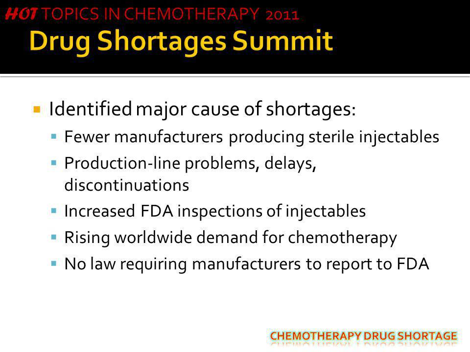 Drug Shortages Summit Identified major cause of shortages:
