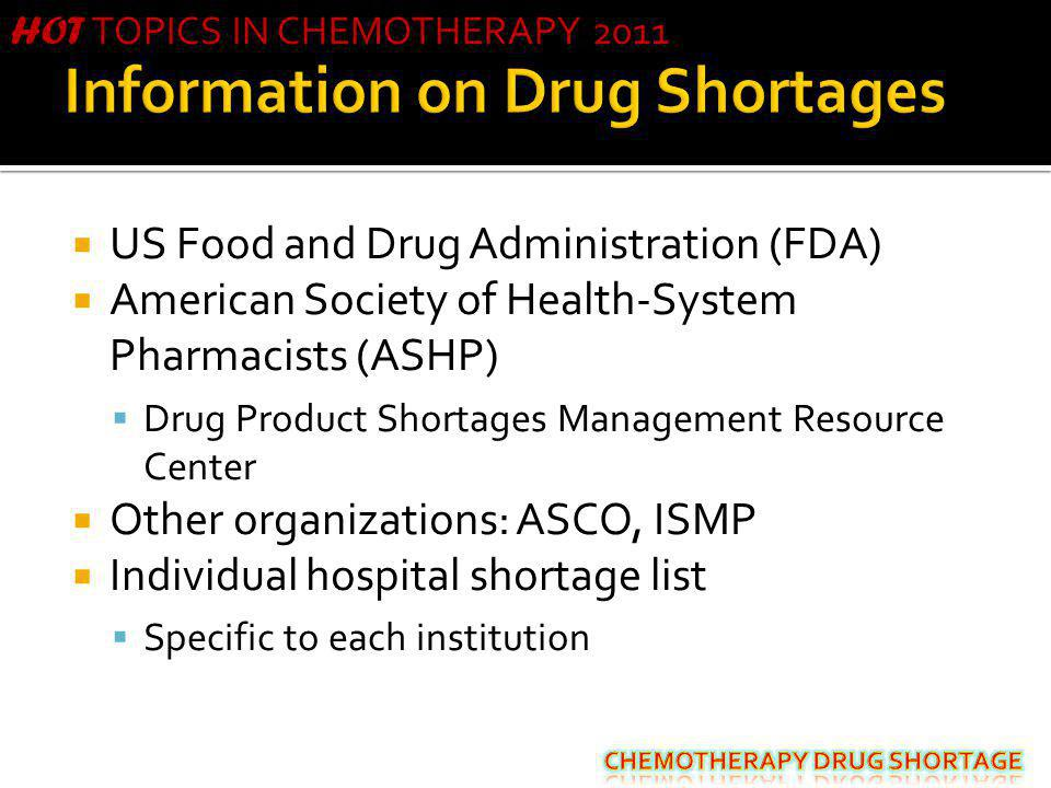 Information on Drug Shortages