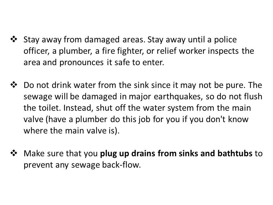 Stay away from damaged areas