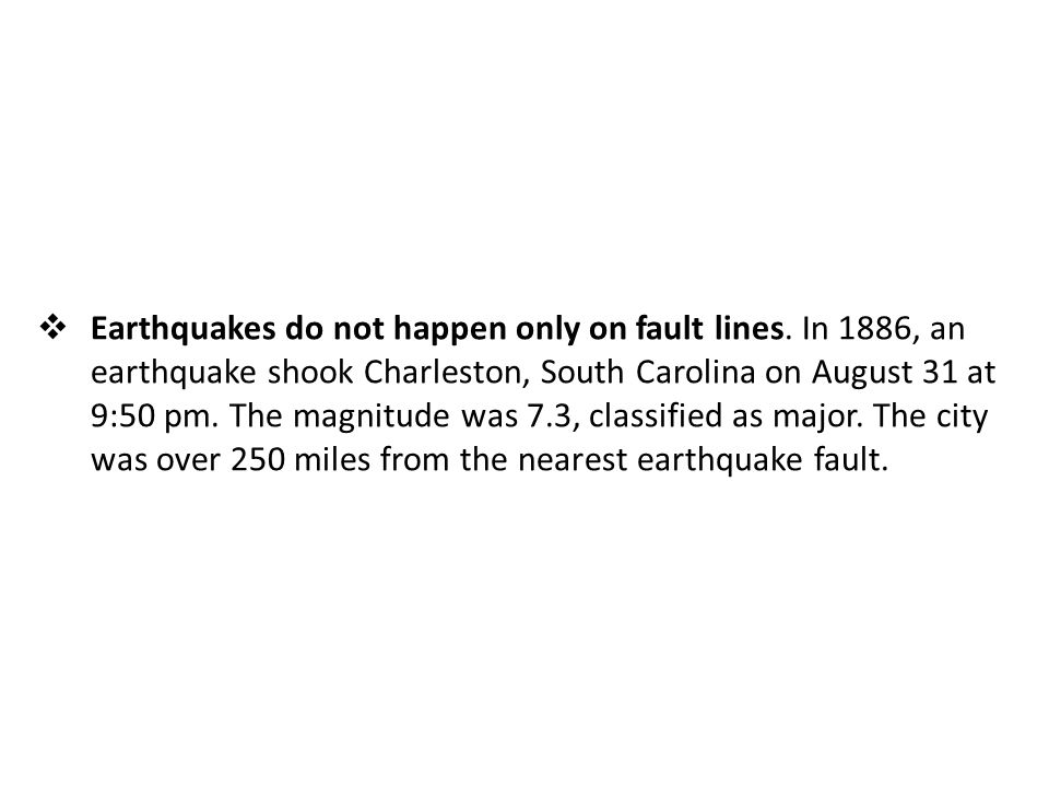 Earthquakes do not happen only on fault lines