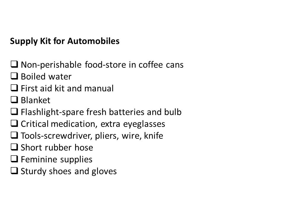 Supply Kit for Automobiles