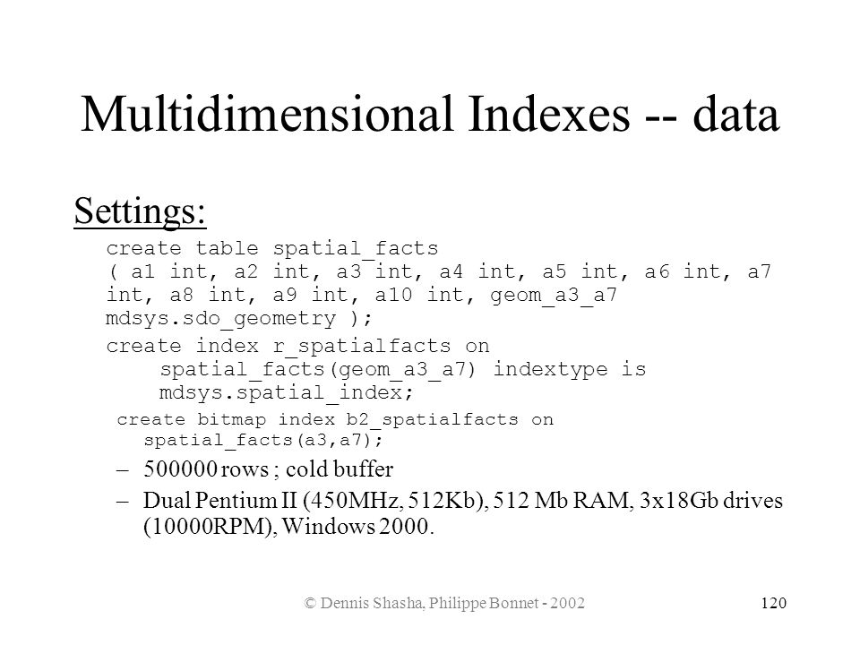 Multidimensional Indexes -- data