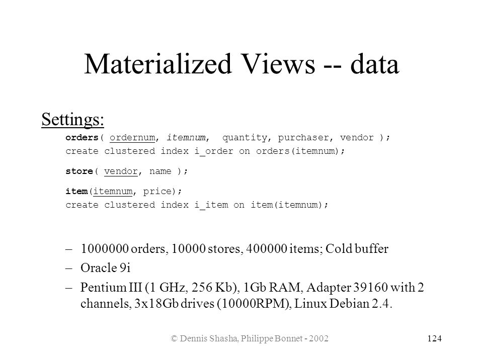 Materialized Views -- data