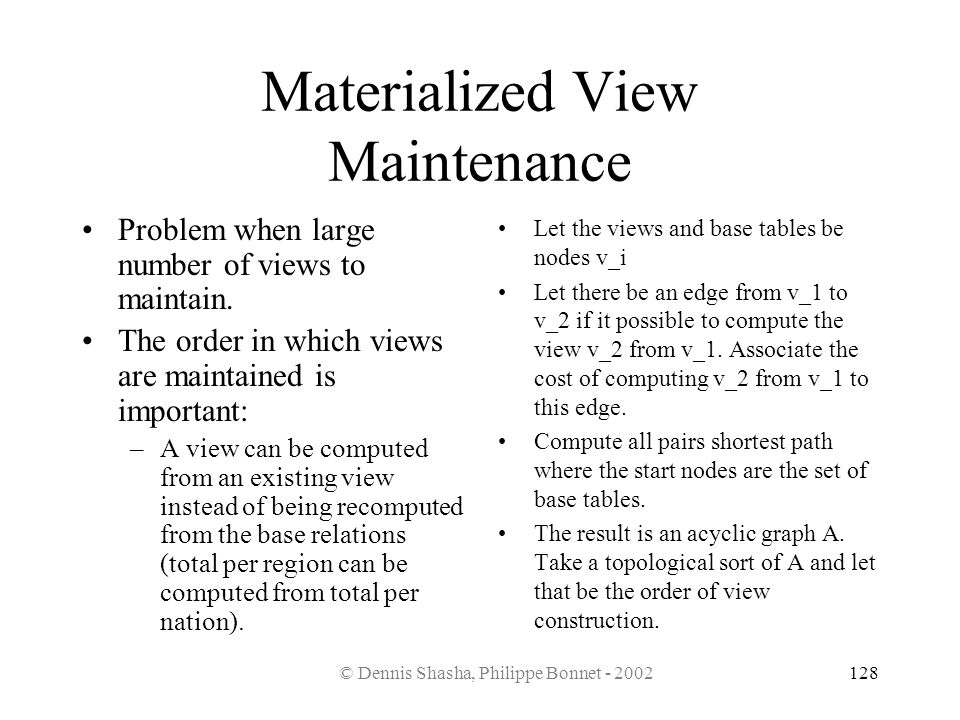 Materialized View Maintenance