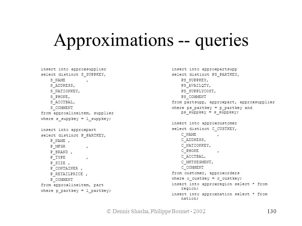 Approximations -- queries