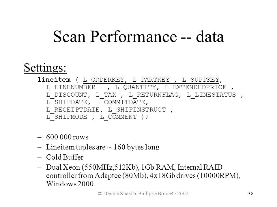 Scan Performance -- data