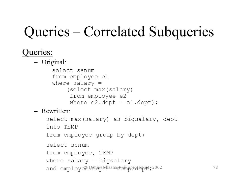 Queries – Correlated Subqueries