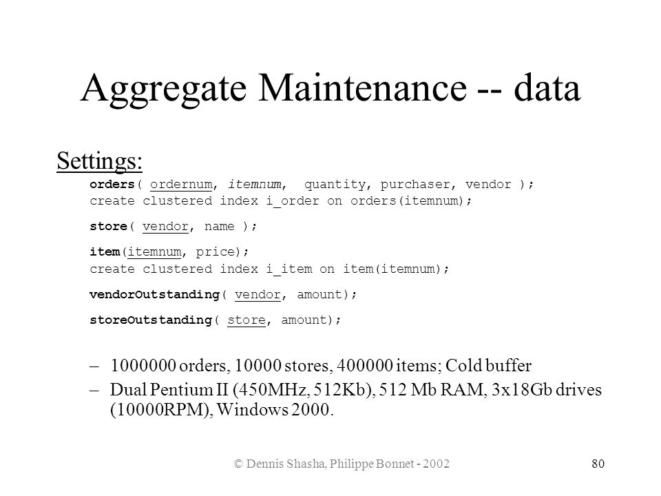 Aggregate Maintenance -- data