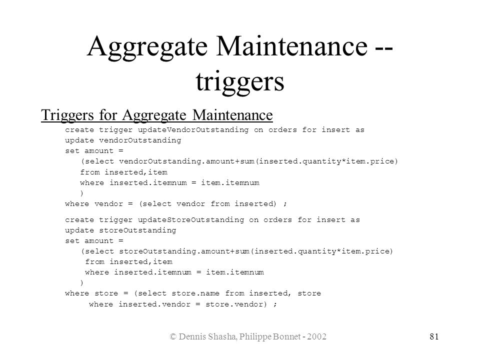 Aggregate Maintenance -- triggers