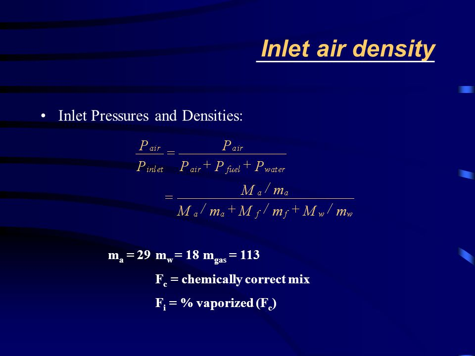 Inlet air density Inlet Pressures and Densities: