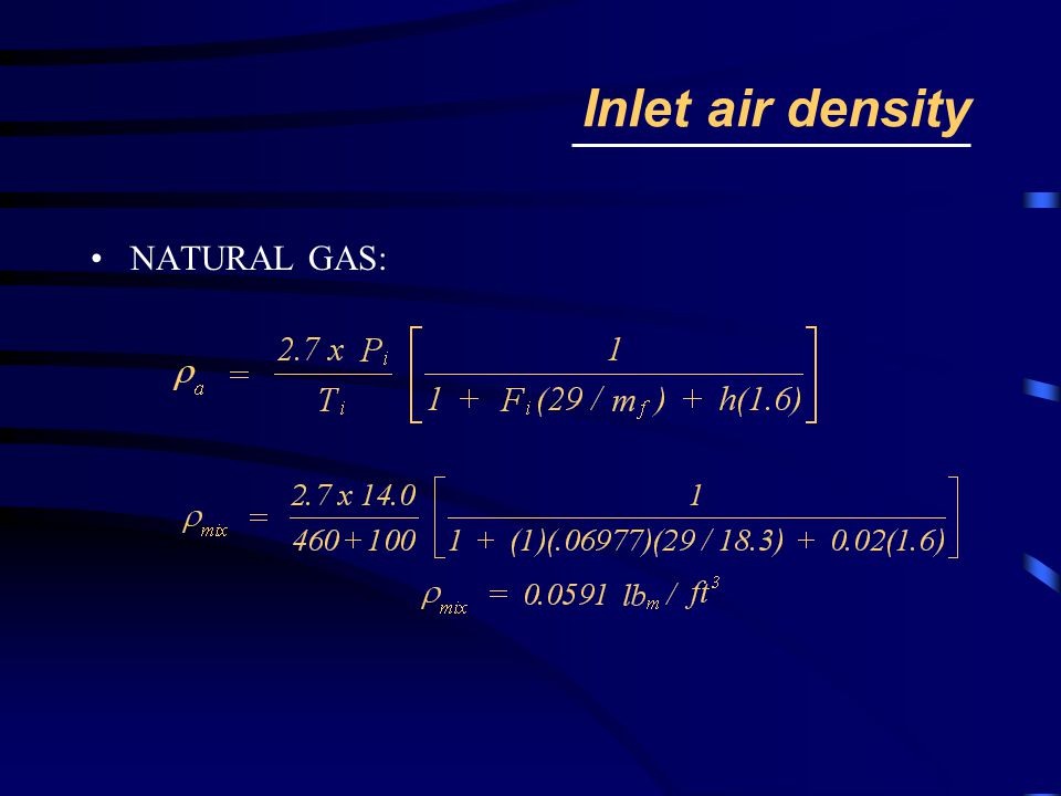 Inlet air density NATURAL GAS: