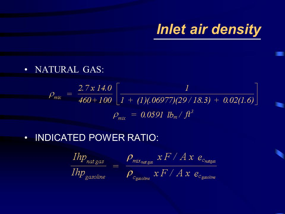 Inlet air density NATURAL GAS: INDICATED POWER RATIO: