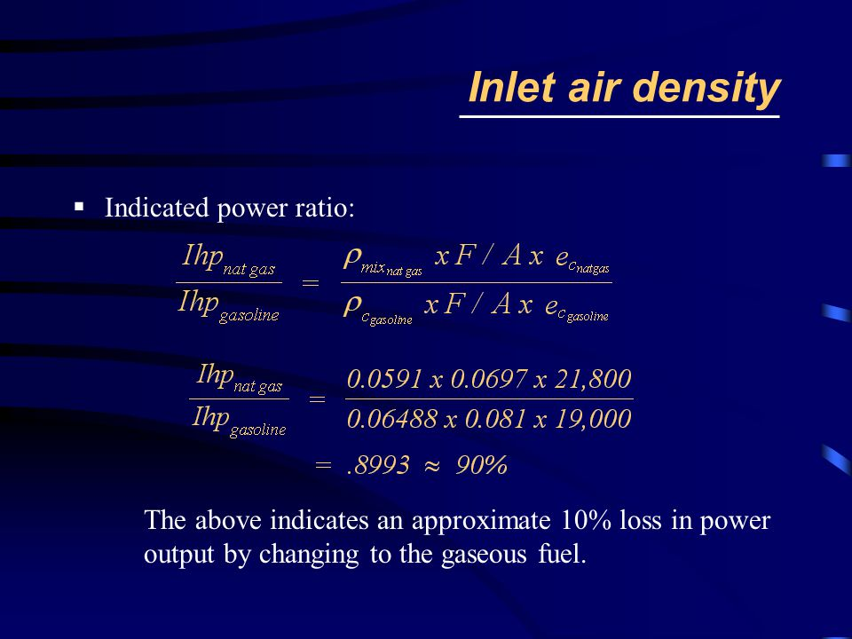 Inlet air density Indicated power ratio: