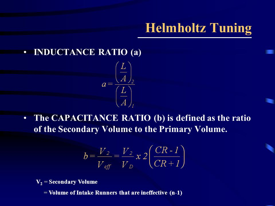 Helmholtz Tuning INDUCTANCE RATIO (a)