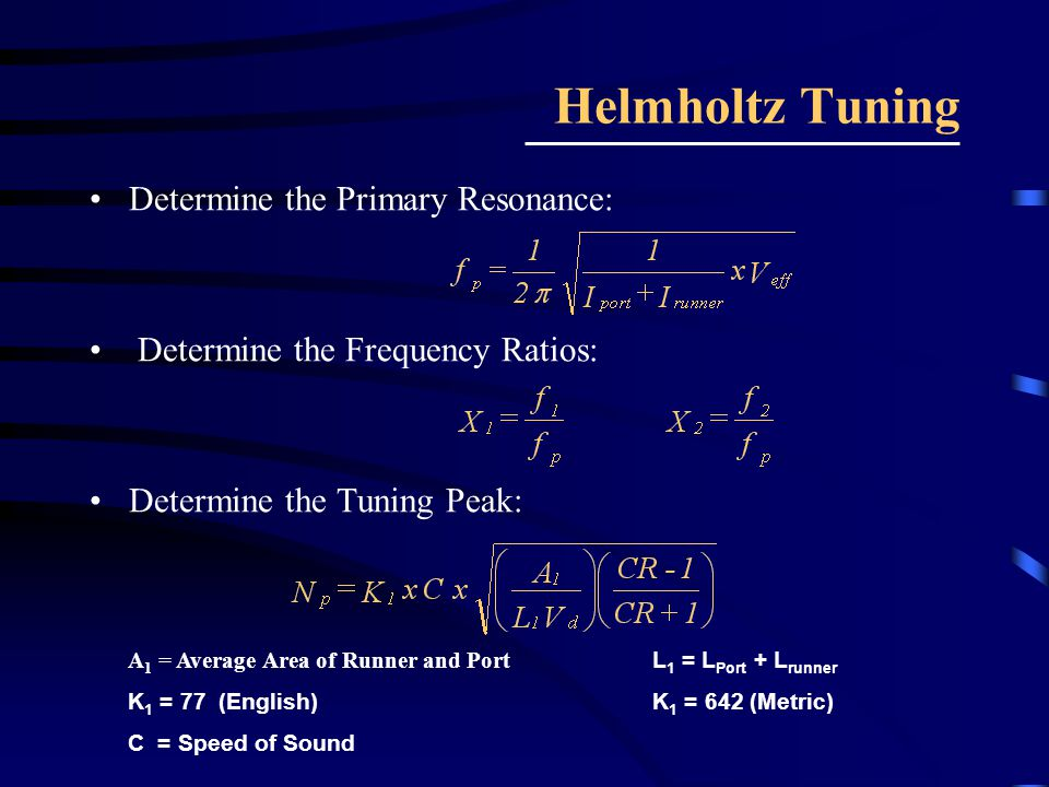 Helmholtz Tuning Determine the Primary Resonance: