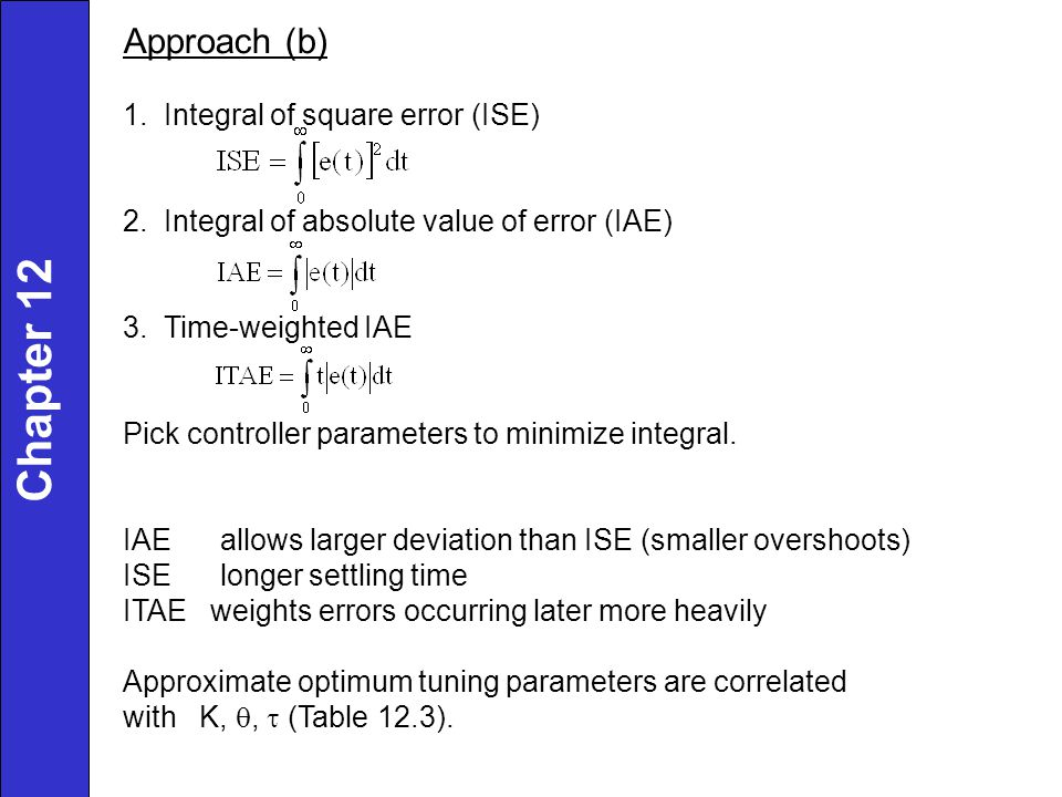 Chapter 12 Approach (b) 1. Integral of square error (ISE)