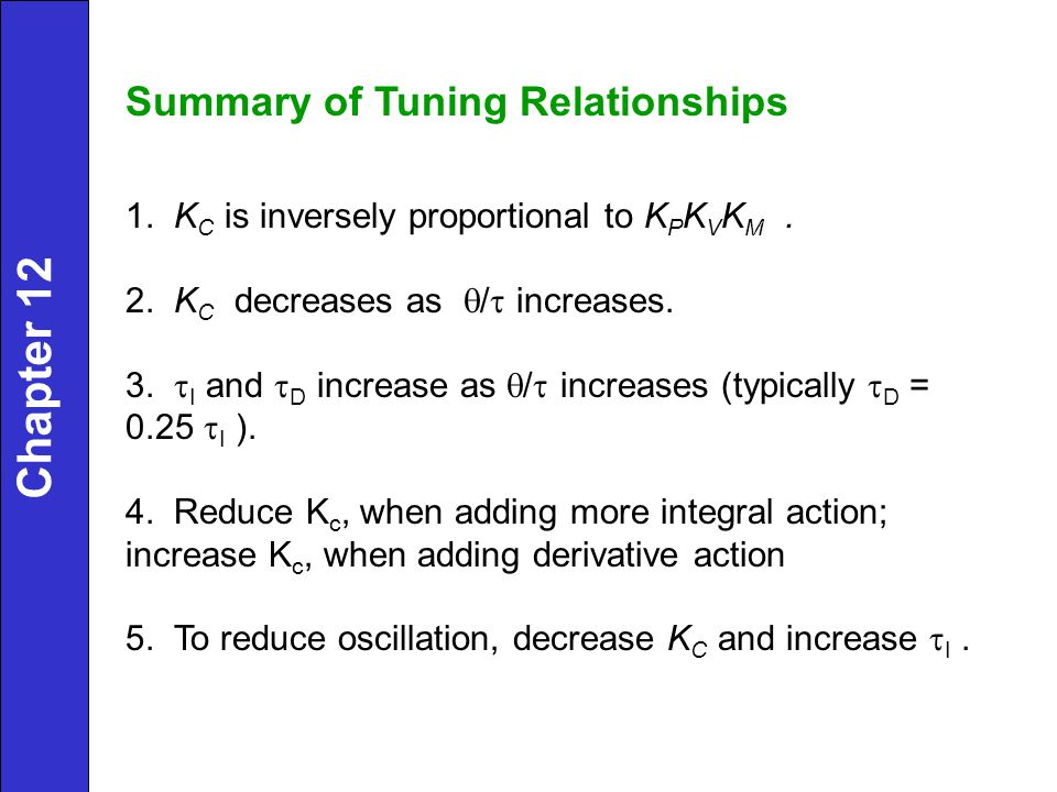 Chapter 12 Summary of Tuning Relationships
