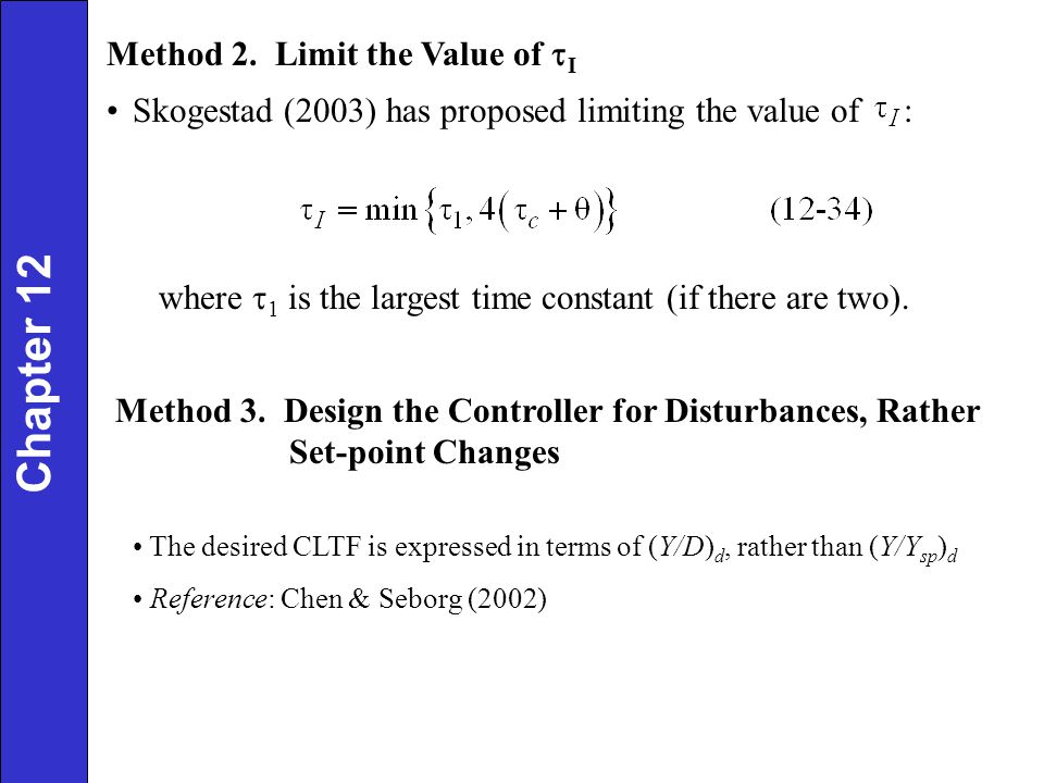 Chapter 12 Method 2. Limit the Value of tI