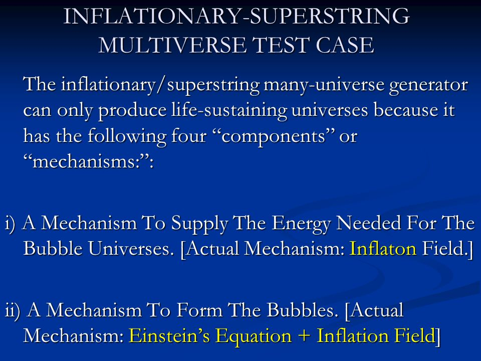 INFLATIONARY-SUPERSTRING MULTIVERSE TEST CASE