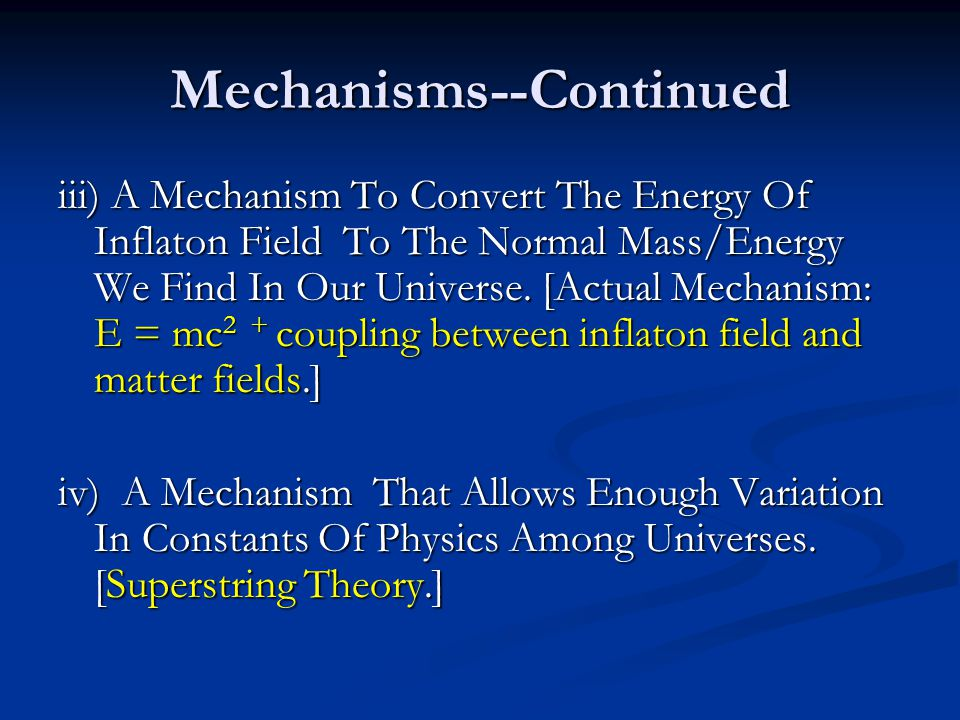 Mechanisms--Continued