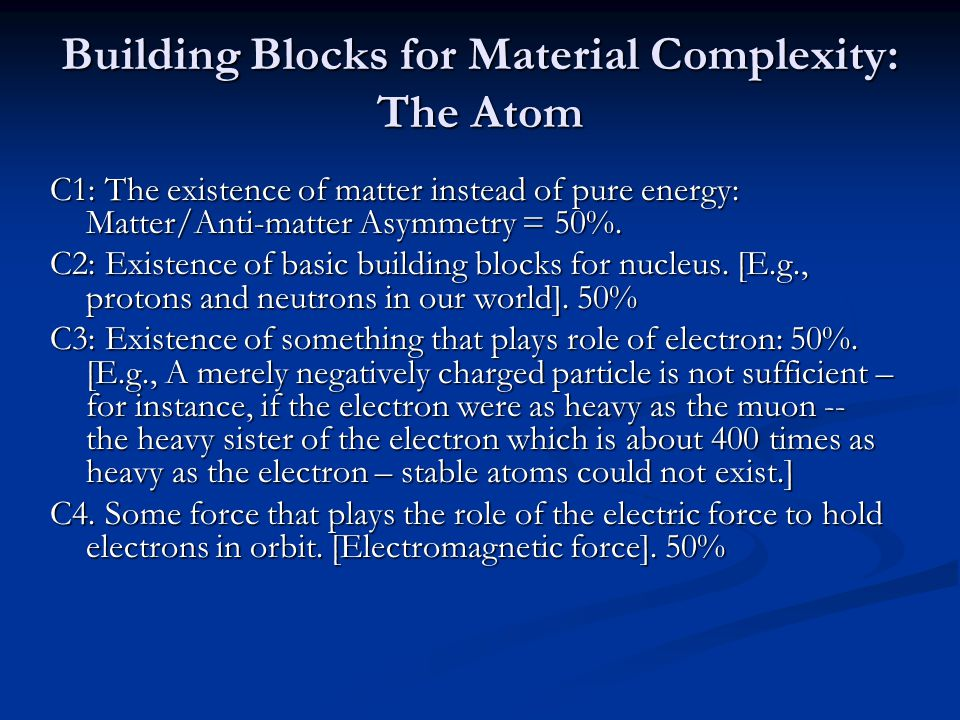 Building Blocks for Material Complexity: The Atom