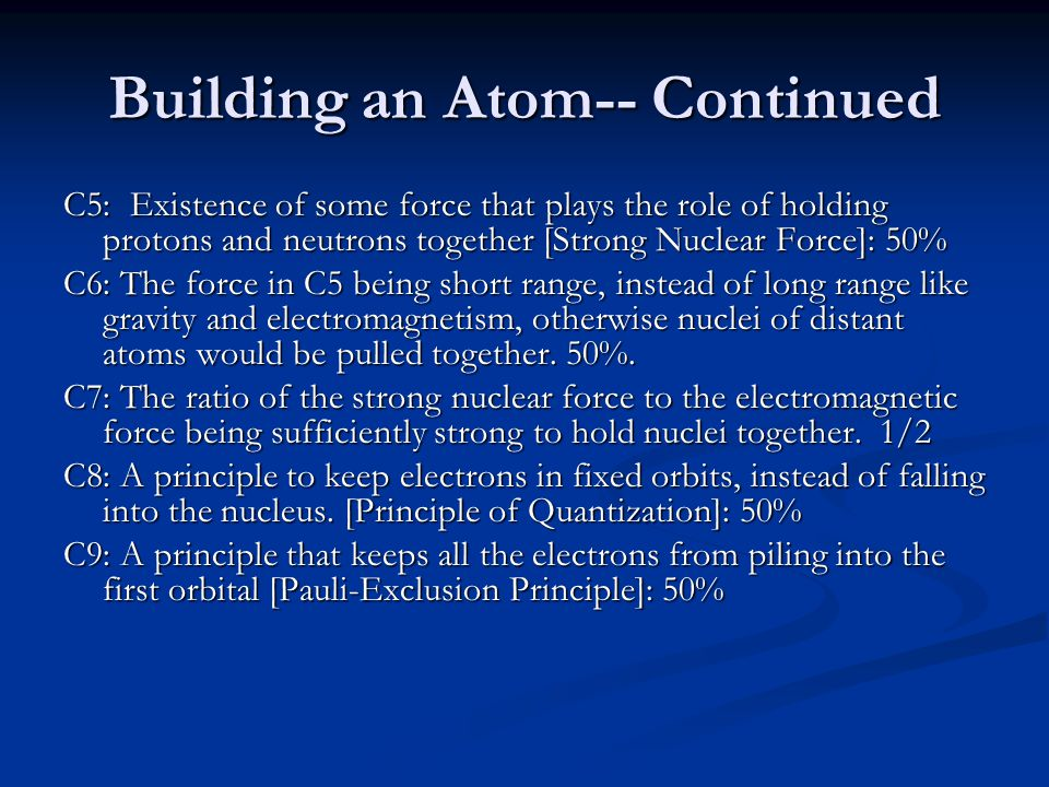 Building an Atom-- Continued