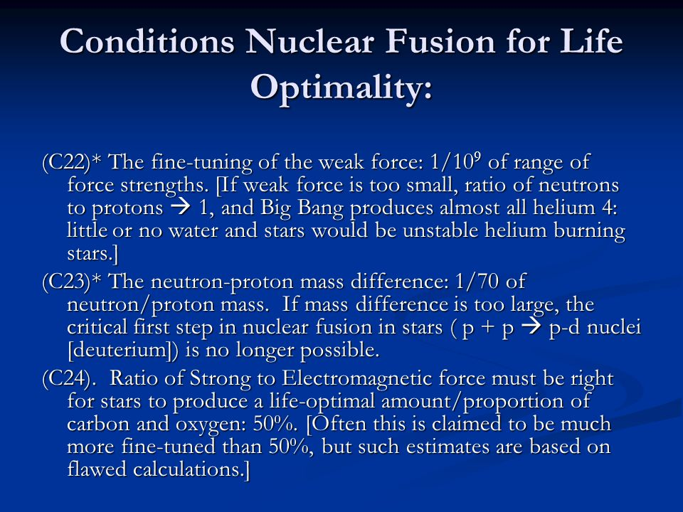 Conditions Nuclear Fusion for Life Optimality: