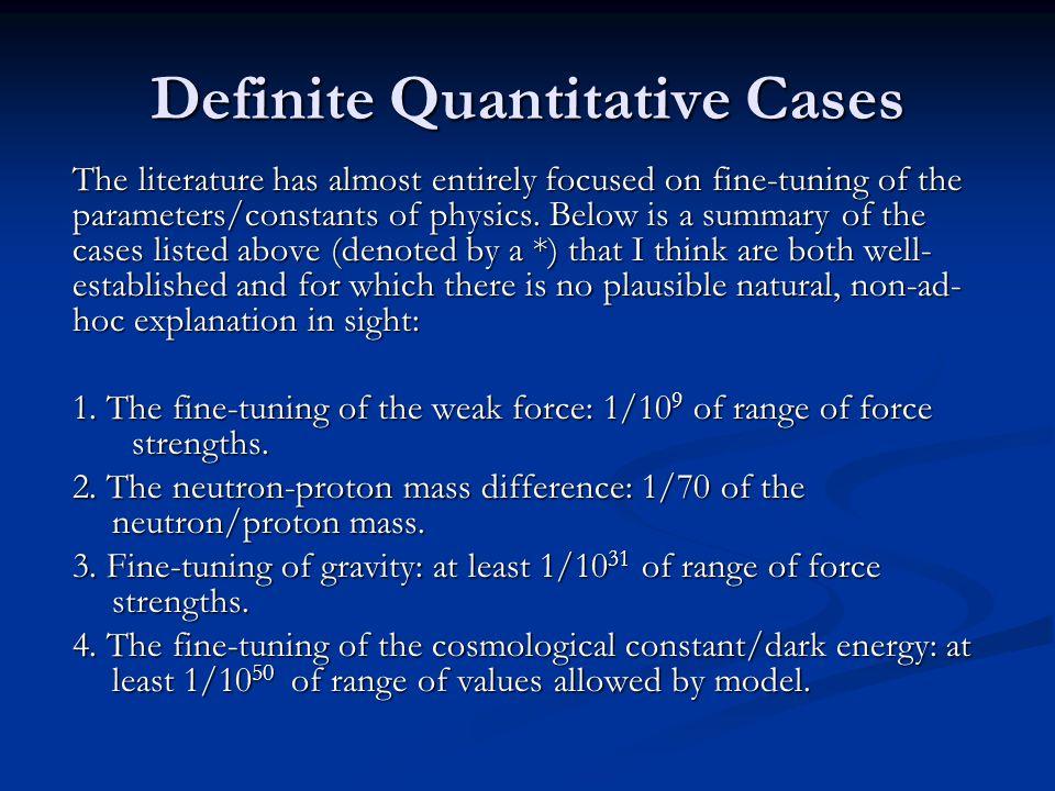 Definite Quantitative Cases