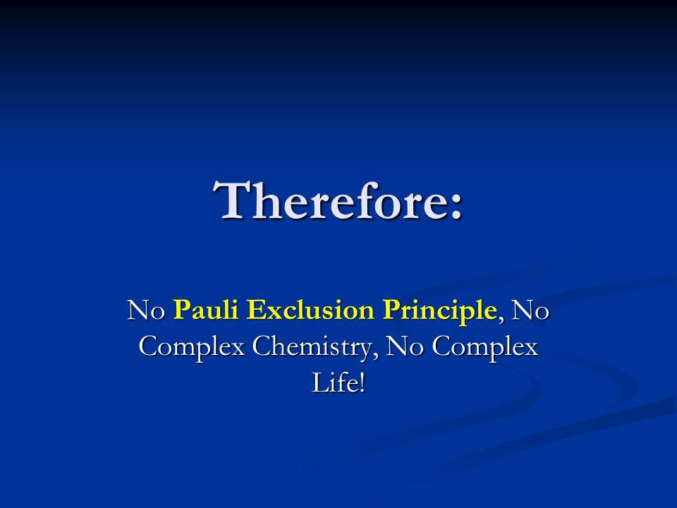 No Pauli Exclusion Principle, No Complex Chemistry, No Complex Life!