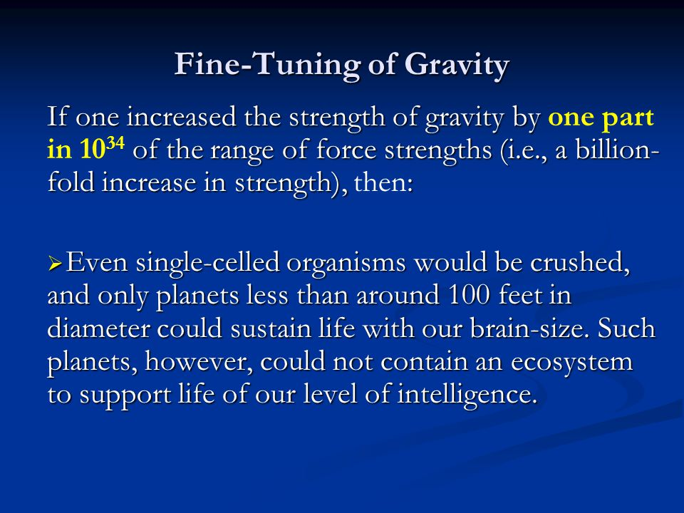 Fine-Tuning of Gravity