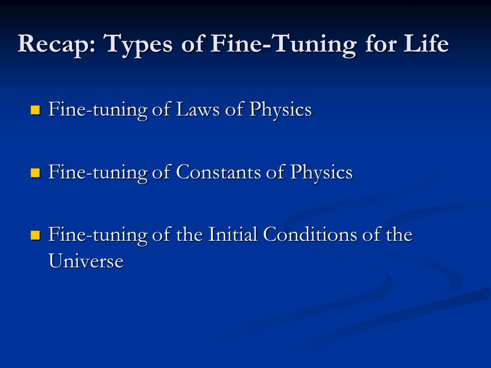 Recap: Types of Fine-Tuning for Life