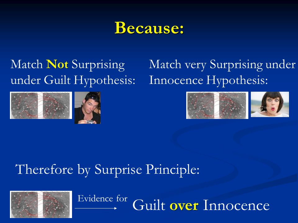 Because: Guilt over Innocence Therefore by Surprise Principle: